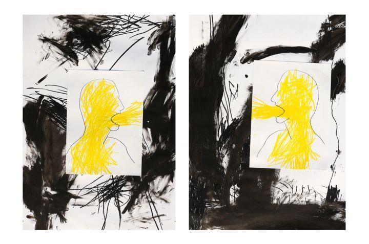 Giulio Benatti - living is yearning (diptych- collage)